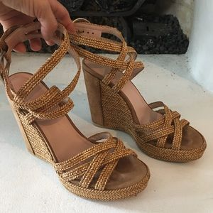 Stuart Weizman platform wick woven leather sandals